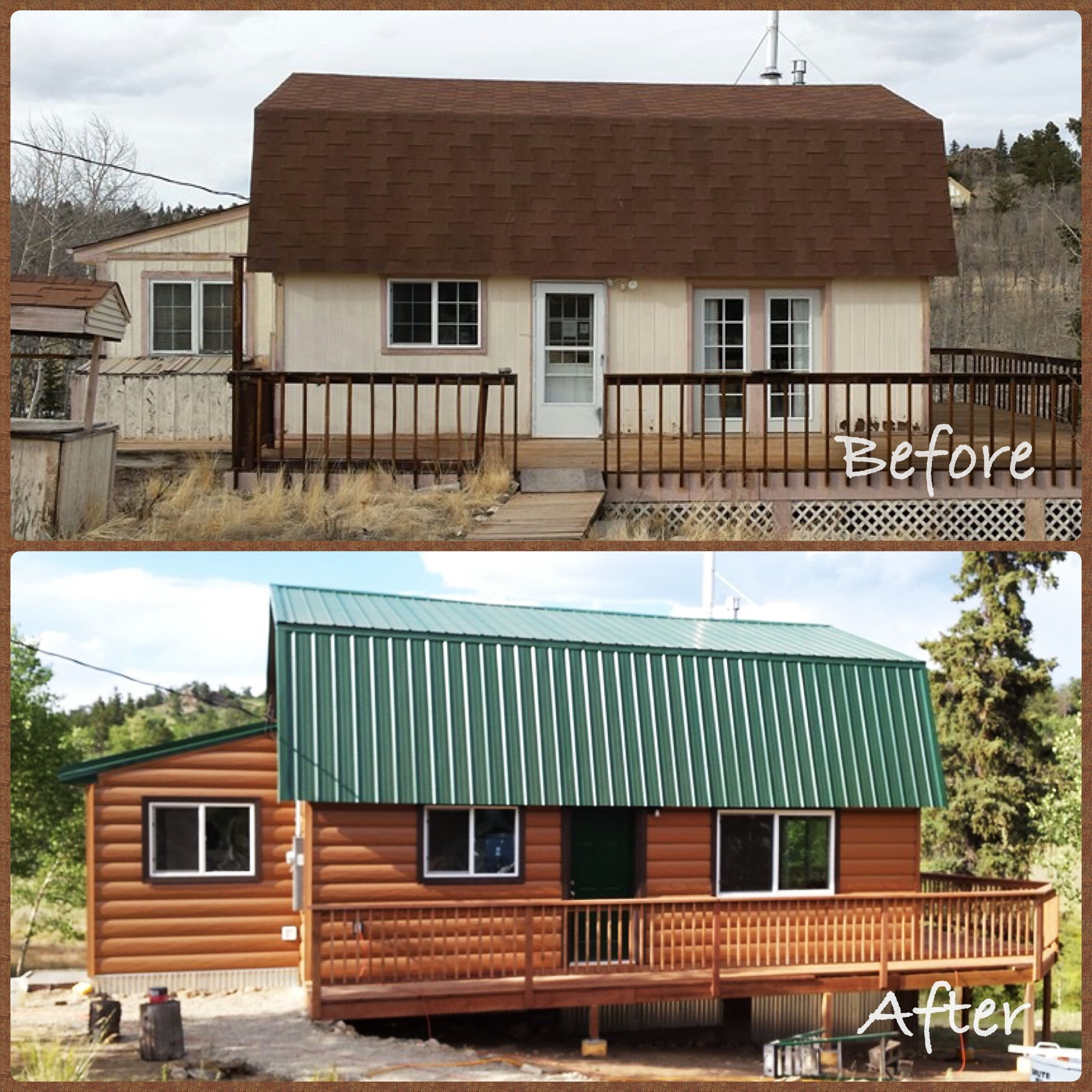 Before And After Picture Of Cedar Log Cabin Huge Transformation Log Cabin Siding Log Siding Cedar Log