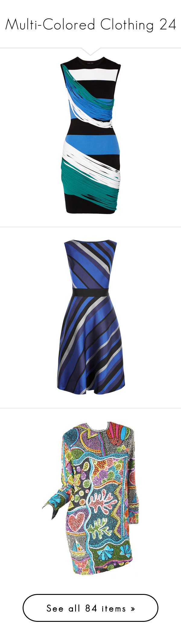 """Multi-Colored Clothing 24"" by franceseattle ❤ liked on Polyvore featuring dresses, blue, pique, stripe, multi color striped dress, short colorful dresses, multi colored dress, pique dress, blue dress and sleeveless maxi dress"