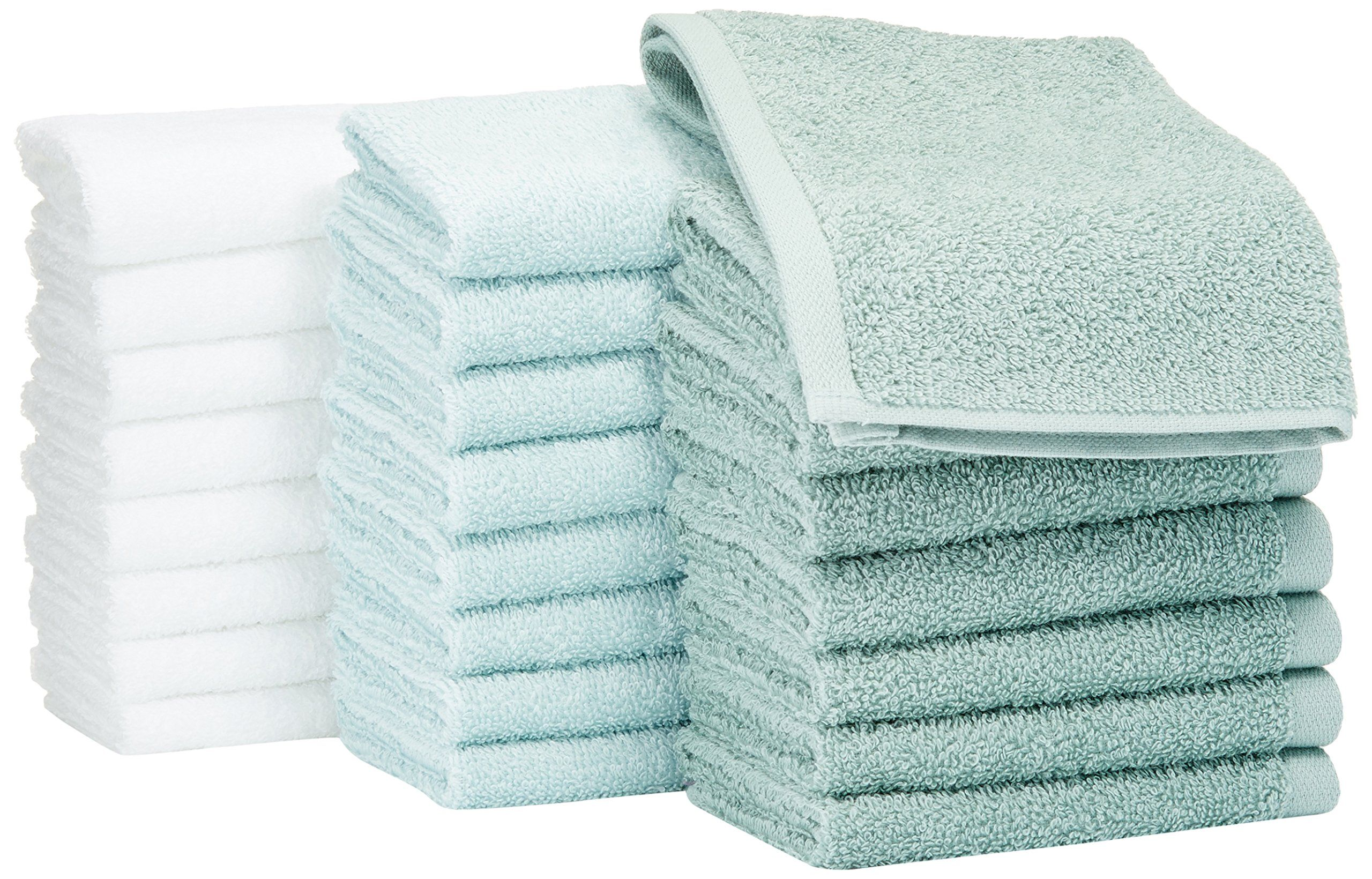 Amazonbasics Washcloth Pack Of 24 Multicolor Seafoam Green Ice