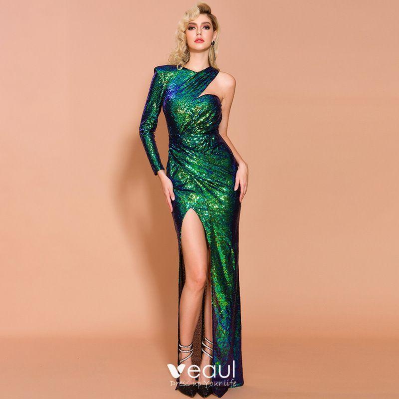Sparkly Green Sequins Evening Dresses 2020 Trumpet ...