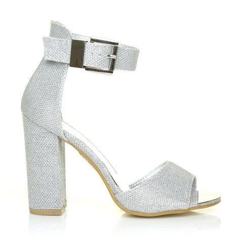 95e0821519d FIONA Silver Glitter Mesh High Block Heel Peep Toe Ankle Strap Sandals –  ShuWish UK -