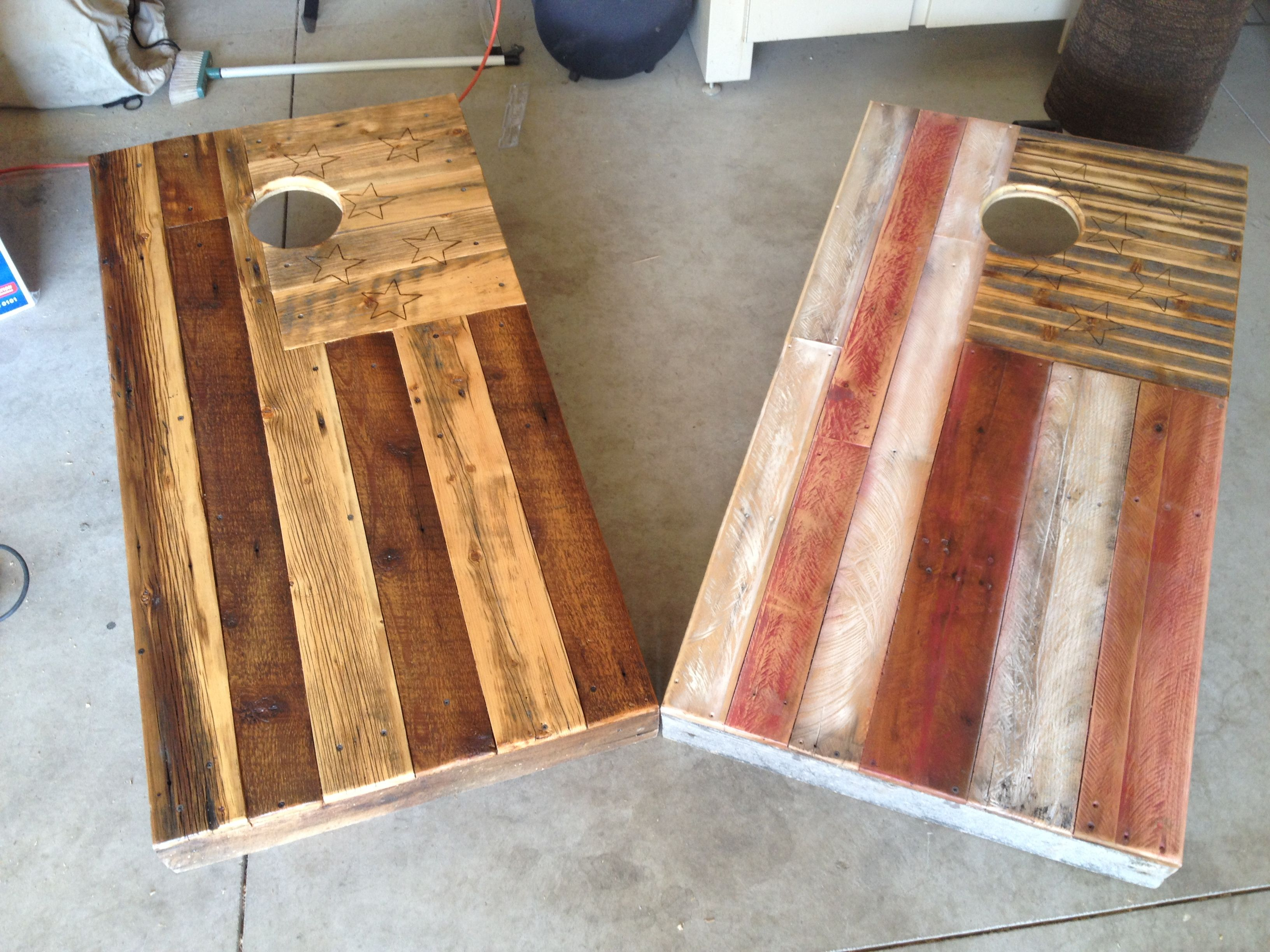 Reclaimed cornhole boards i made from pallets by colten for Recycled wood board