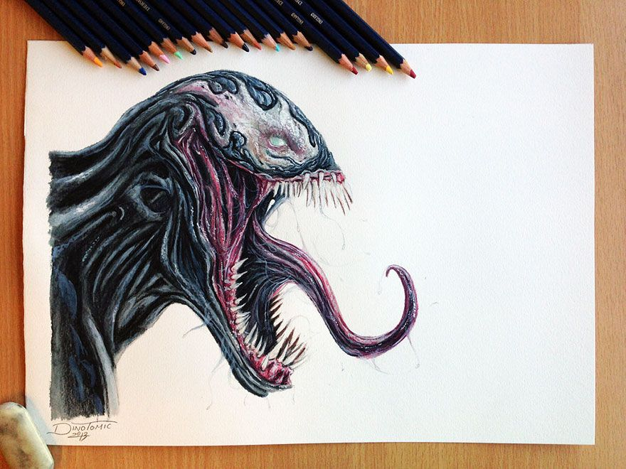 Dino tomic pencil drawings alien