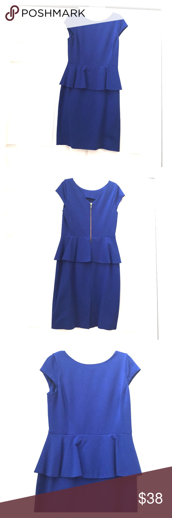 Banana Republic Peplum Dress Royal Blue - Size 4 Banana Republic Dresses Midi