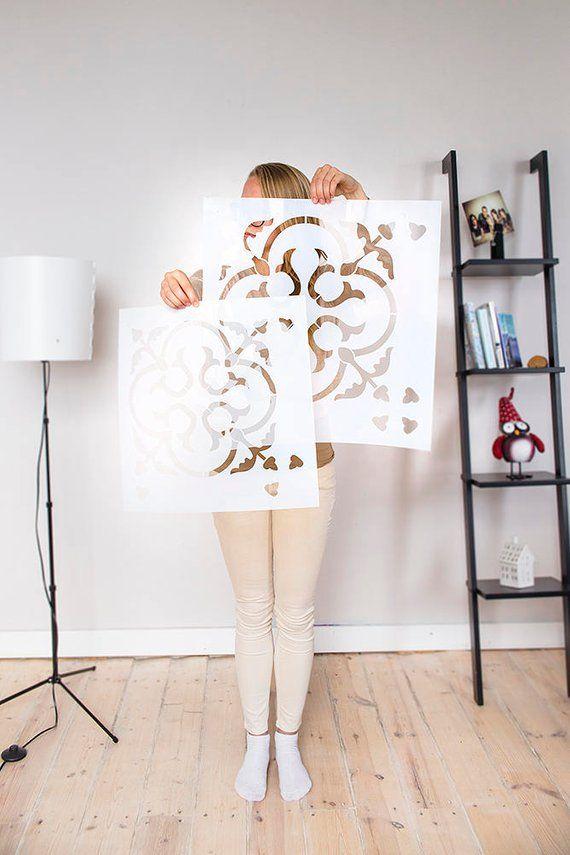 Skandinavische Fliesen dekorative Wandschablone für DIY