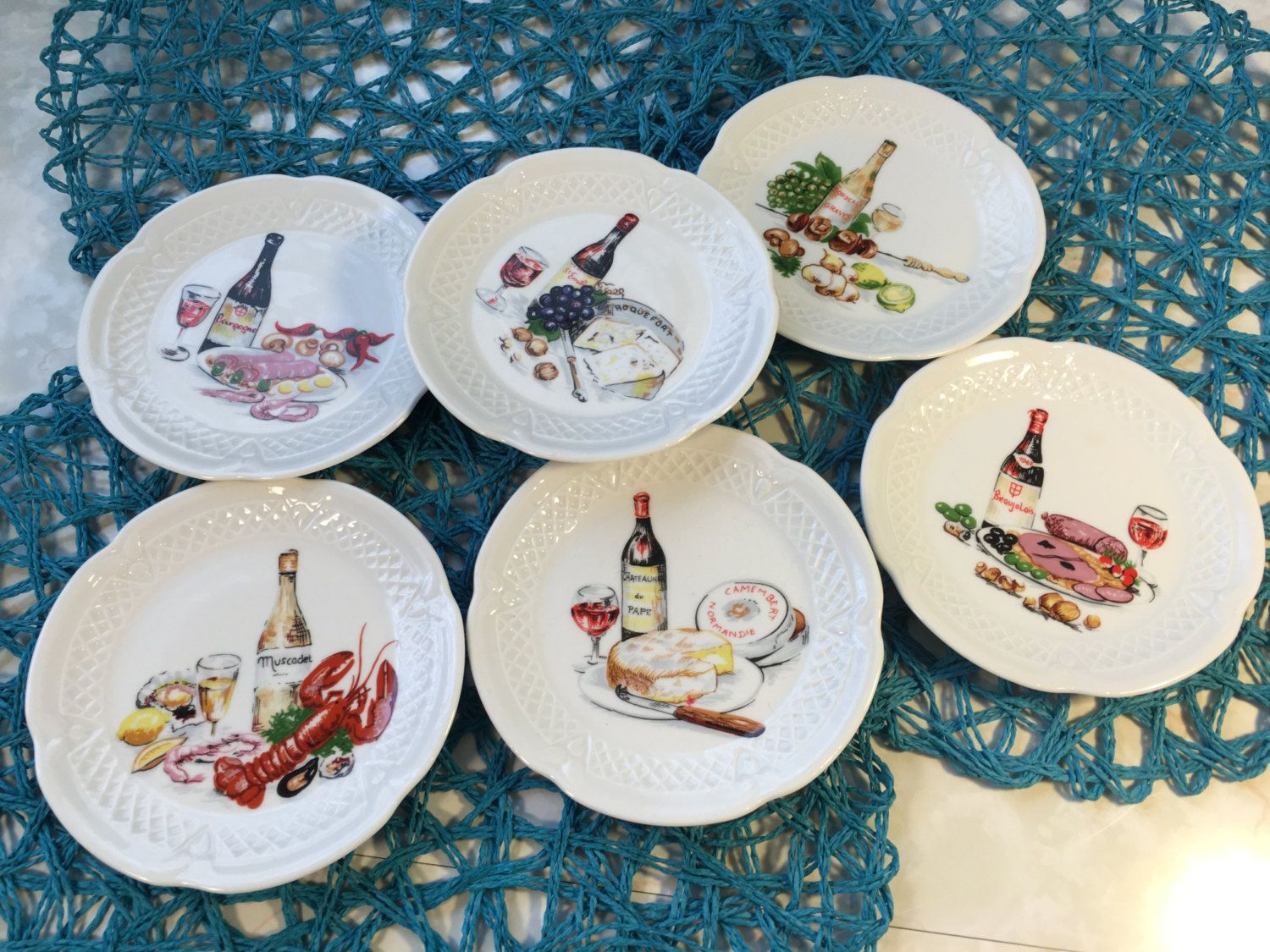 Vintage Philipee Deshoulieres Porcelaines Lourioux France French Appetizer Cheese Plates Set of 6 by TheTravelingTwins & Vintage Philipee Deshoulieres Porcelaines Lourioux France French ...