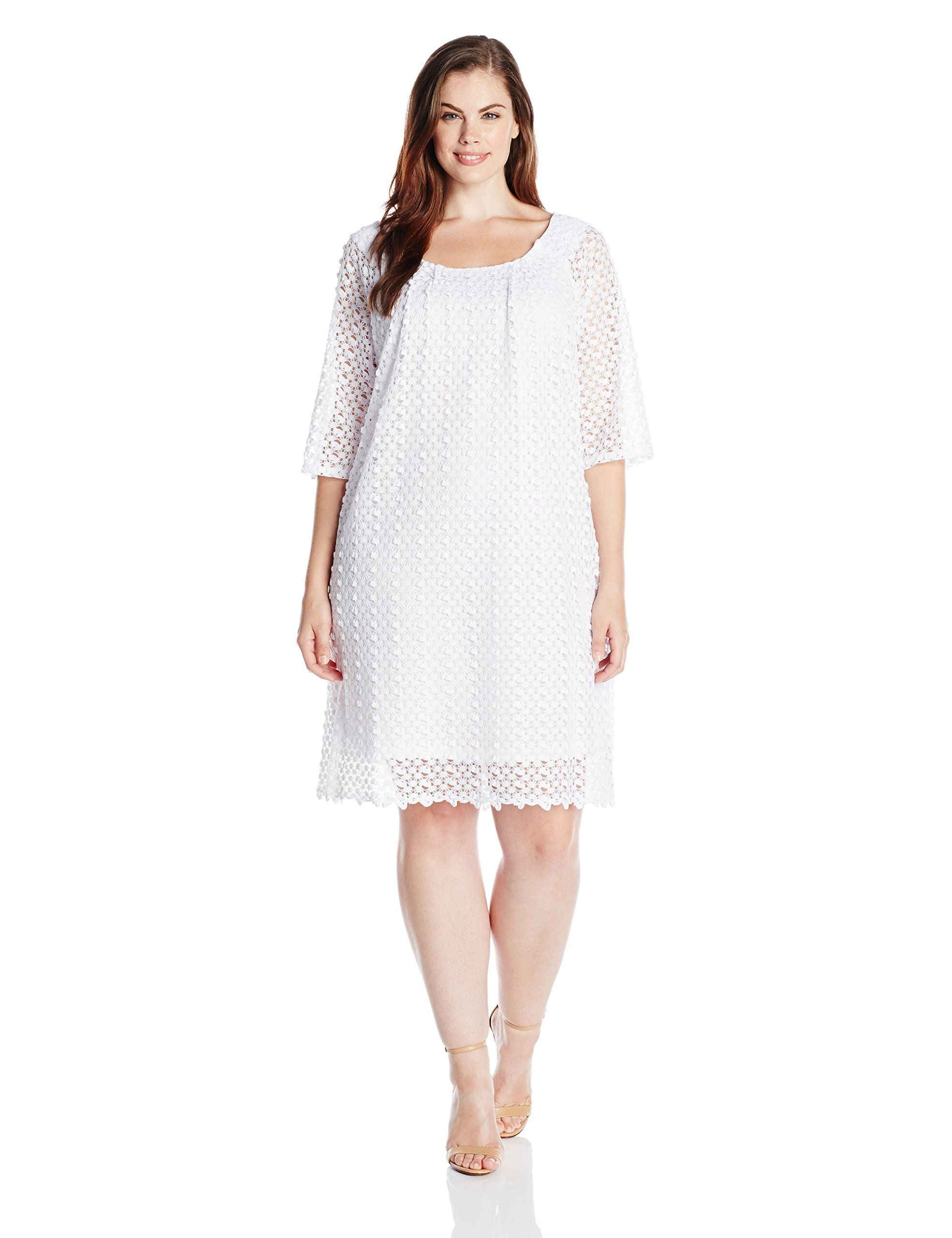 64f9abababb Tiana B Women s Plus-Size Lace Shift Dress with Elbow-Sleeves