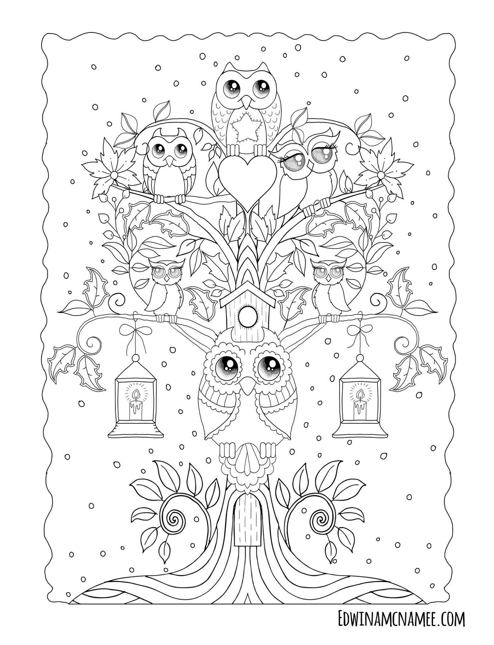 Ornamental Owls More Than 25 Fanciful Full Page Illustrations Depict The Cutest Of Owls With Big G Owl Coloring Pages Abstract Coloring Pages Coloring Book Art