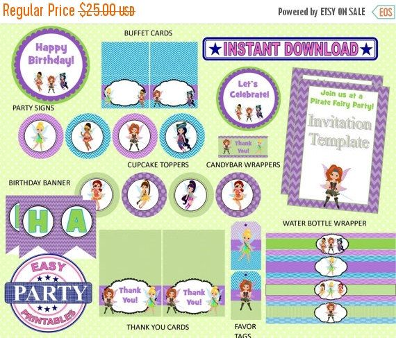 50% OFF Pirate Fairy Party Package Instant by EasyPartyPrintables