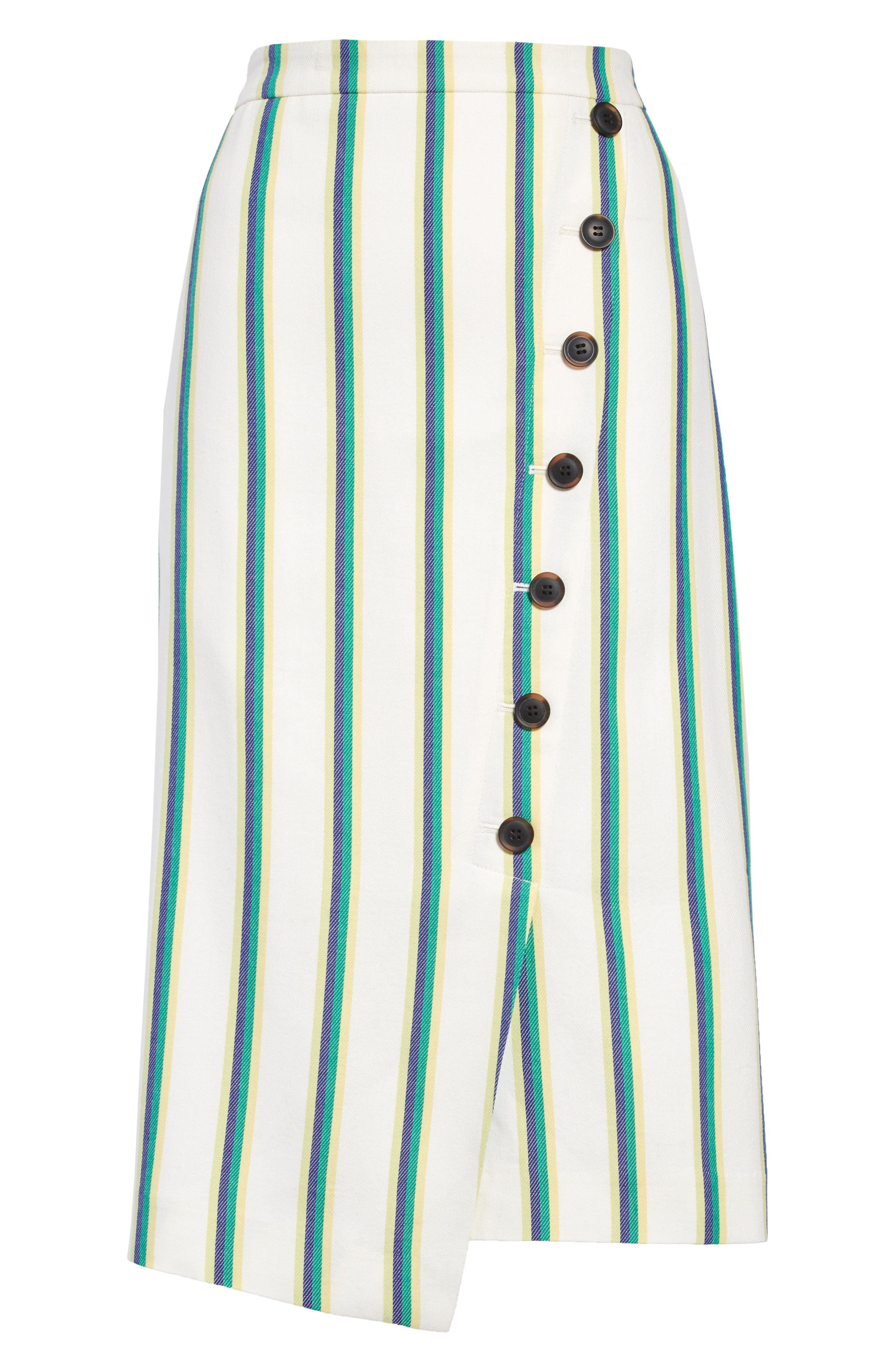 Preppy stripes refine this breezy cotton-rayon skirt in a slim, asymmetrical faux-wrap silhouette with tortoiseshell-patterned buttons at the front. Style Name:Halogen Stripe Faux Wrap Pencil Skirt (Regular & Petite). Style Number: 5992271. Available in stores.