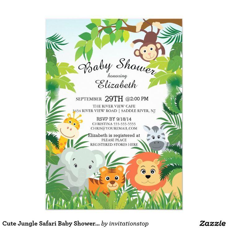 Cute Jungle Safari Baby Shower Invitations Zazzle Com Jungle