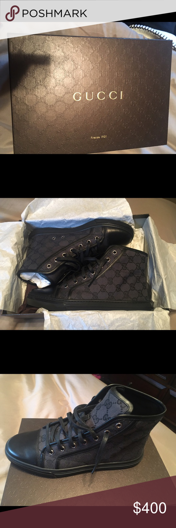 Gucci sneakers (black) 100% authentic. Gucci sneakers. Includes shoe box, duster bag, and verification card. Gucci Shoes Sneakers