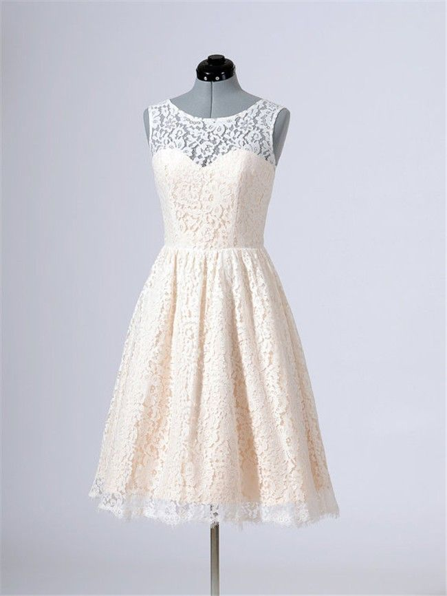 161aea8b8d A Line Sleeveless Short Cream Lace Bridesmaid Prom Dress With Buttons