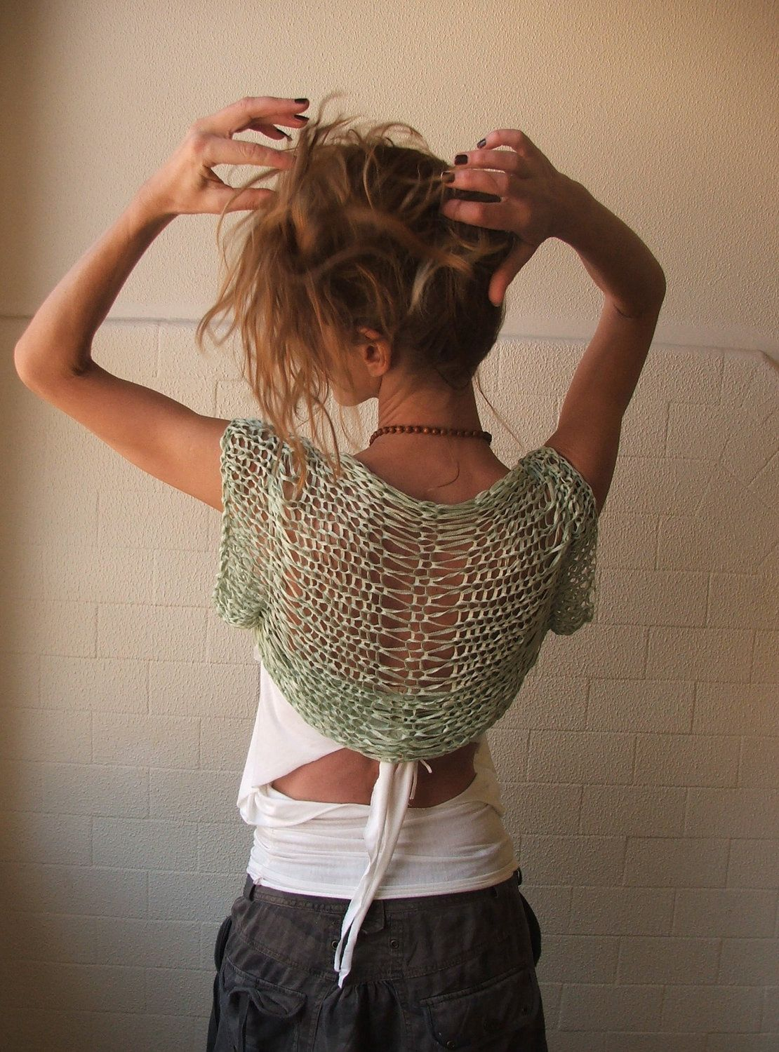 Jade green short sleeved bamboo shrug. on Etsy.  LAYERS are lovely!