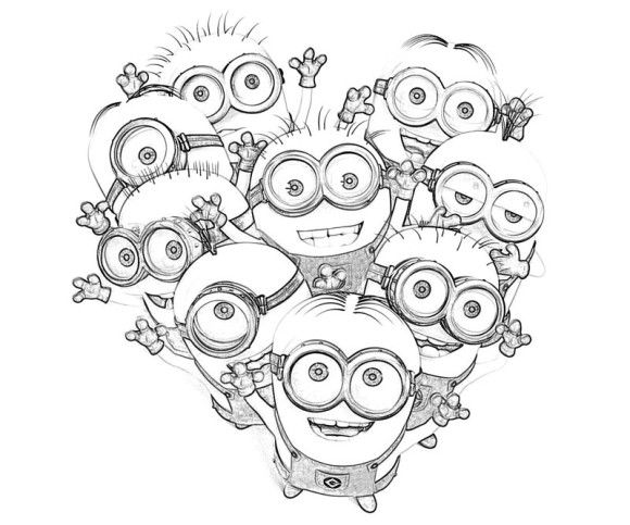 Kids Minions Despicable Me Coloring Pages | Holiday : Valentine\'s ...