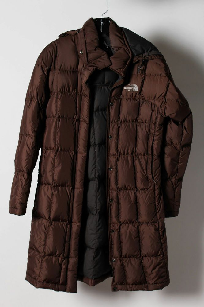 The North Face Brown Zip Up Snap Buttons Long Puffer Quilted Coat Sz XS    TP  TheNorthFace  BasicCoat 037960b8c