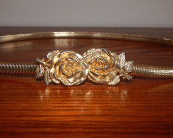 Vintage Gold Belt Slim Stretch Serpentine Belt Rose Bucle Enclosure Women's Belt
