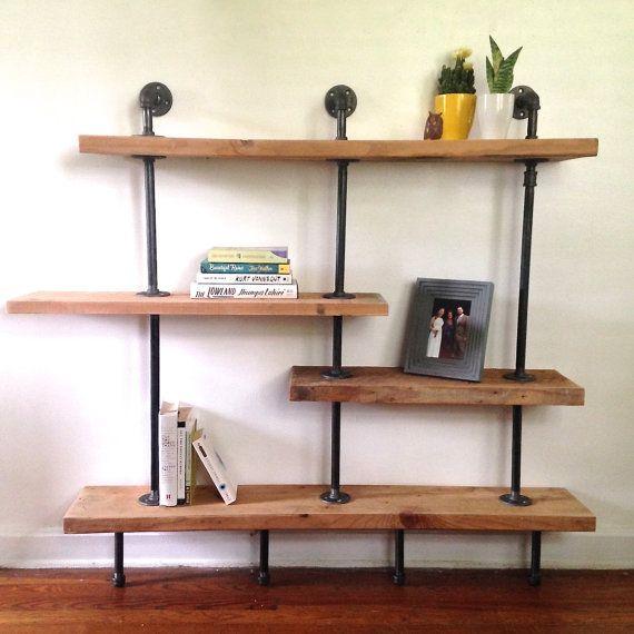 The Addison Bookshelf Reclaimed Wood Asymmetrical Bookshelf Etsy