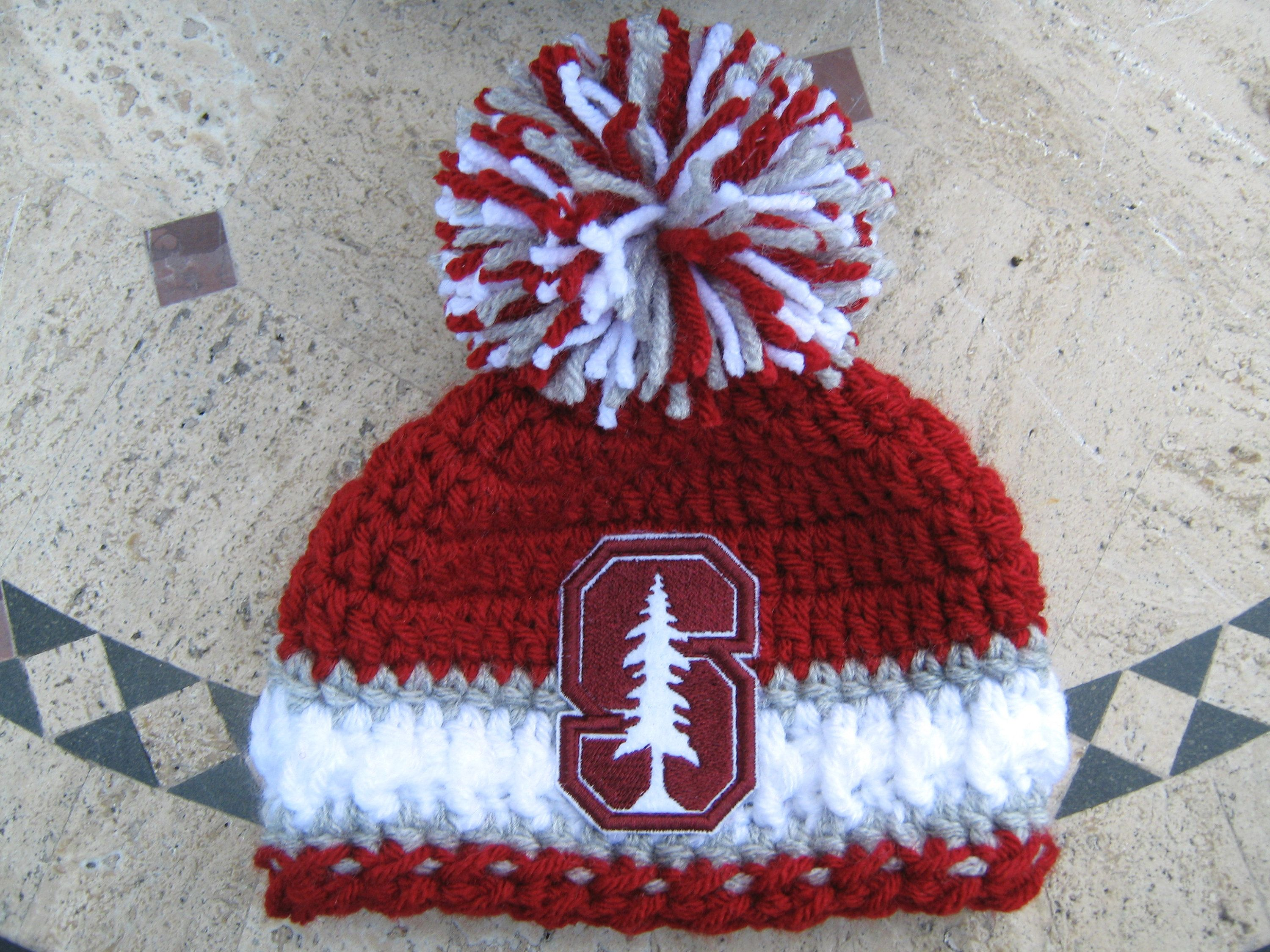 06fc4e0c5 Crochet Beanie Baby Hat (Stanford University) with Embroidered Logo ...