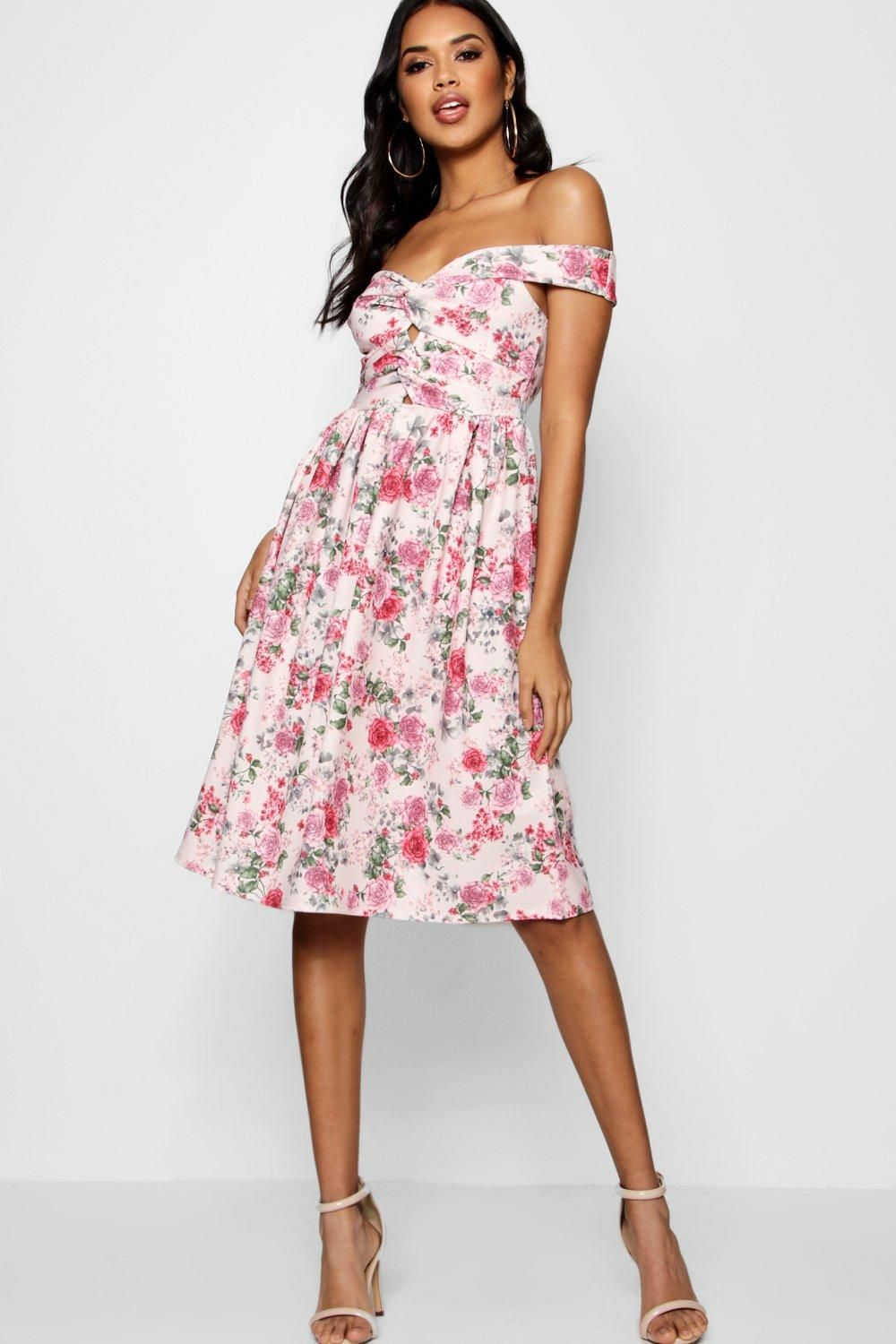 d1bd0dcefb Click here to find out about the Jess Floral Bardot Knot Midi Skater Dress  from Boohoo