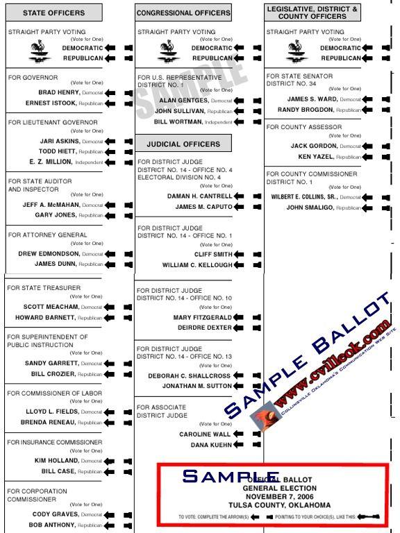 oklahoma 2006 sample ballot