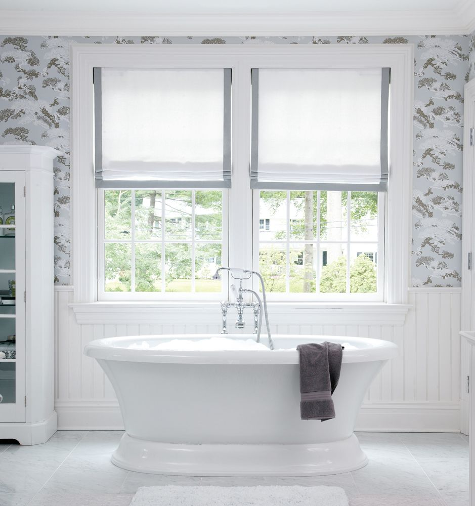 Bathroom window blinds - Beautiful Soft And Romantic Bathroom The Roman Shades Are Simple And Clean