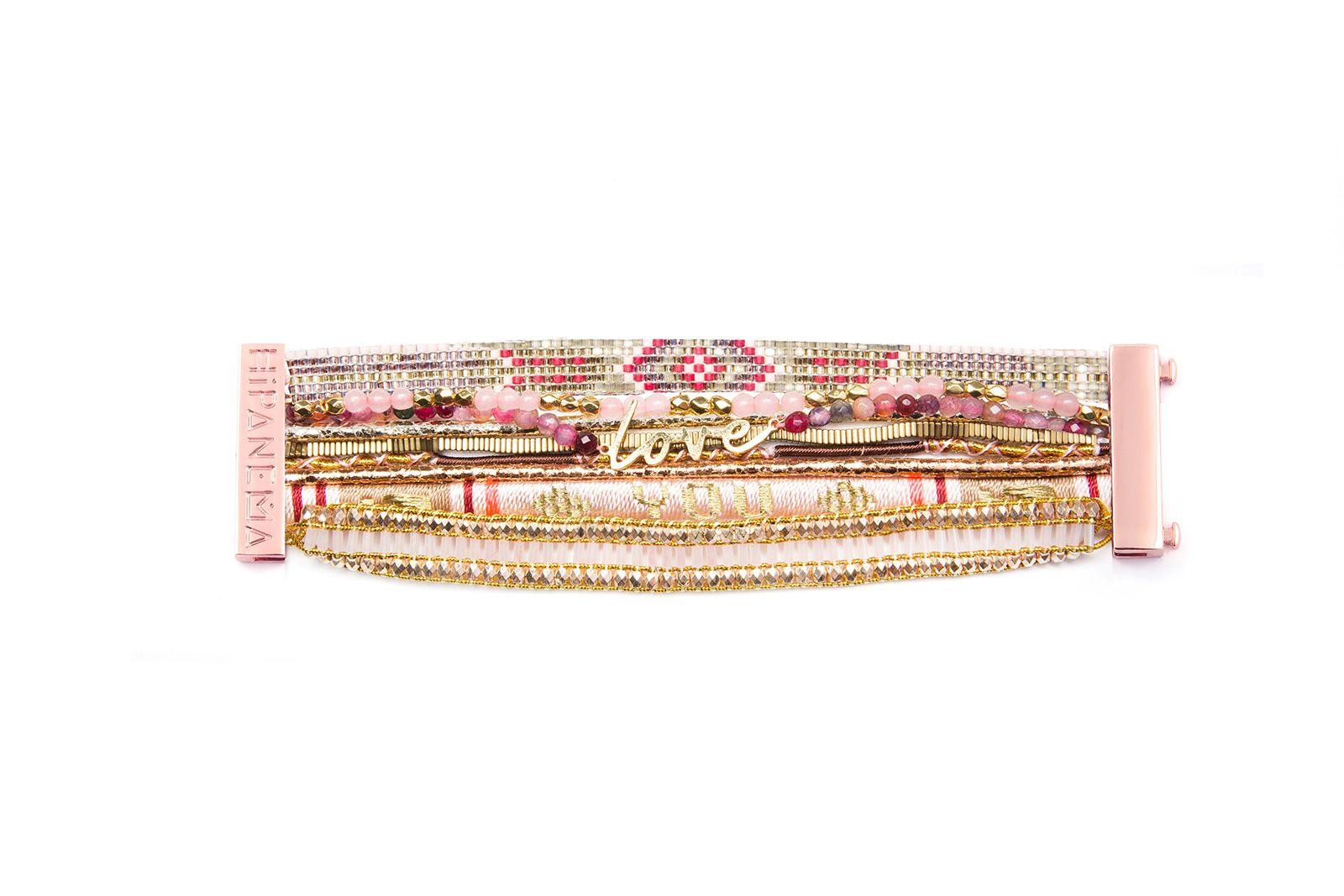 Bracelet manchette rose pale
