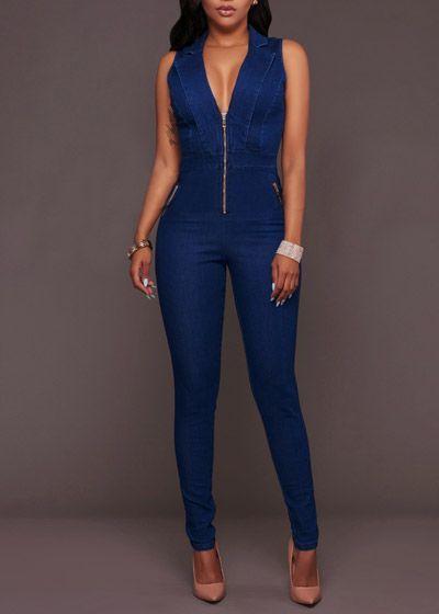 142b83b98 Compre Macacão Jeans Feminino Comprido Com Zíper Frente - Frete Grátis