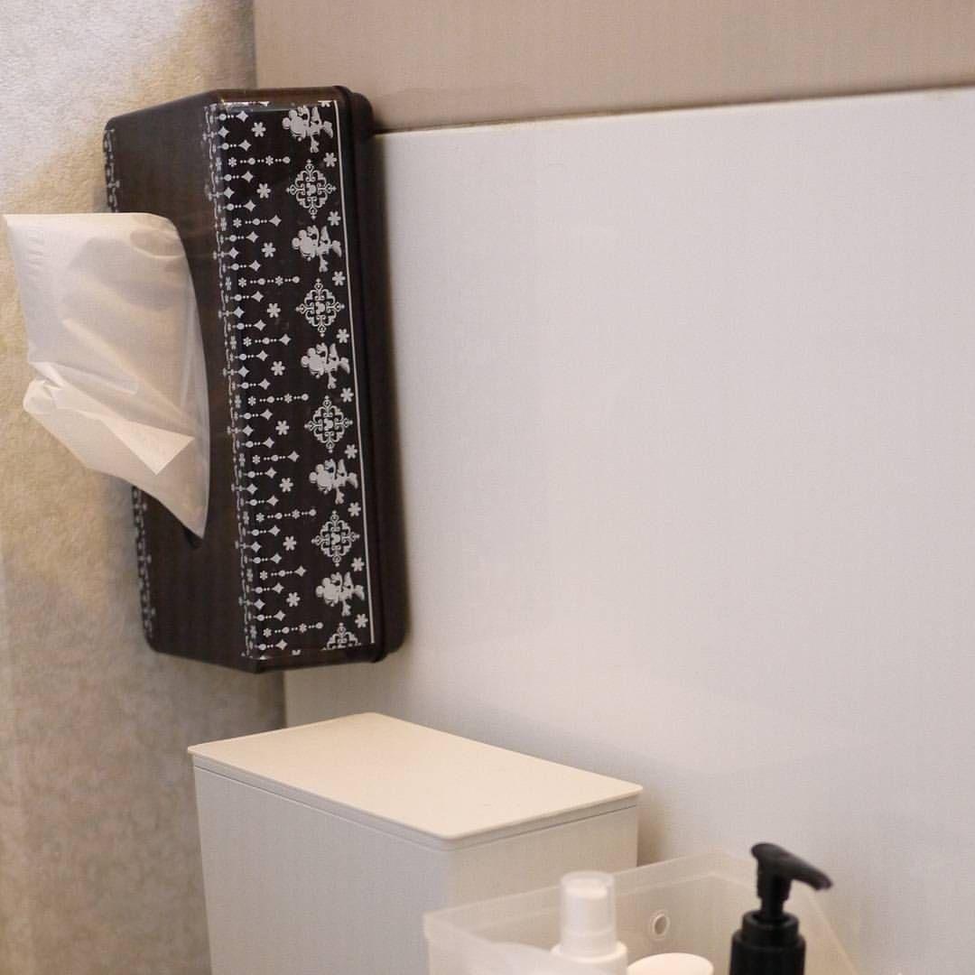 ティッシュをぺたん 洗面台の横にマグネットが付くことに気がつき