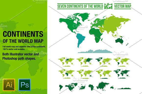 Continents vector world map continents vector world map graphics seven continents vector map of the worldgreat package for all your map needs 100 vector and easy by mikko lemola gumiabroncs Images