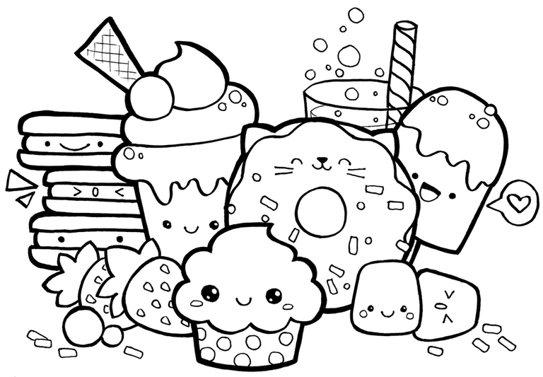 7 Fun Food With Faces Coloring Pages For Children Buku Mewarnai