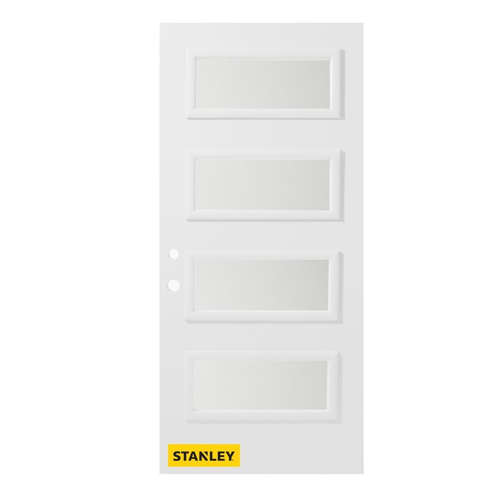 37 375 Inch X 82 375 Inch Lorraine 4 Lite Louise Prefinished White Right Hand Inswing Steel Prehung Front Door Steel Entry Doors Stanley Doors Front Door