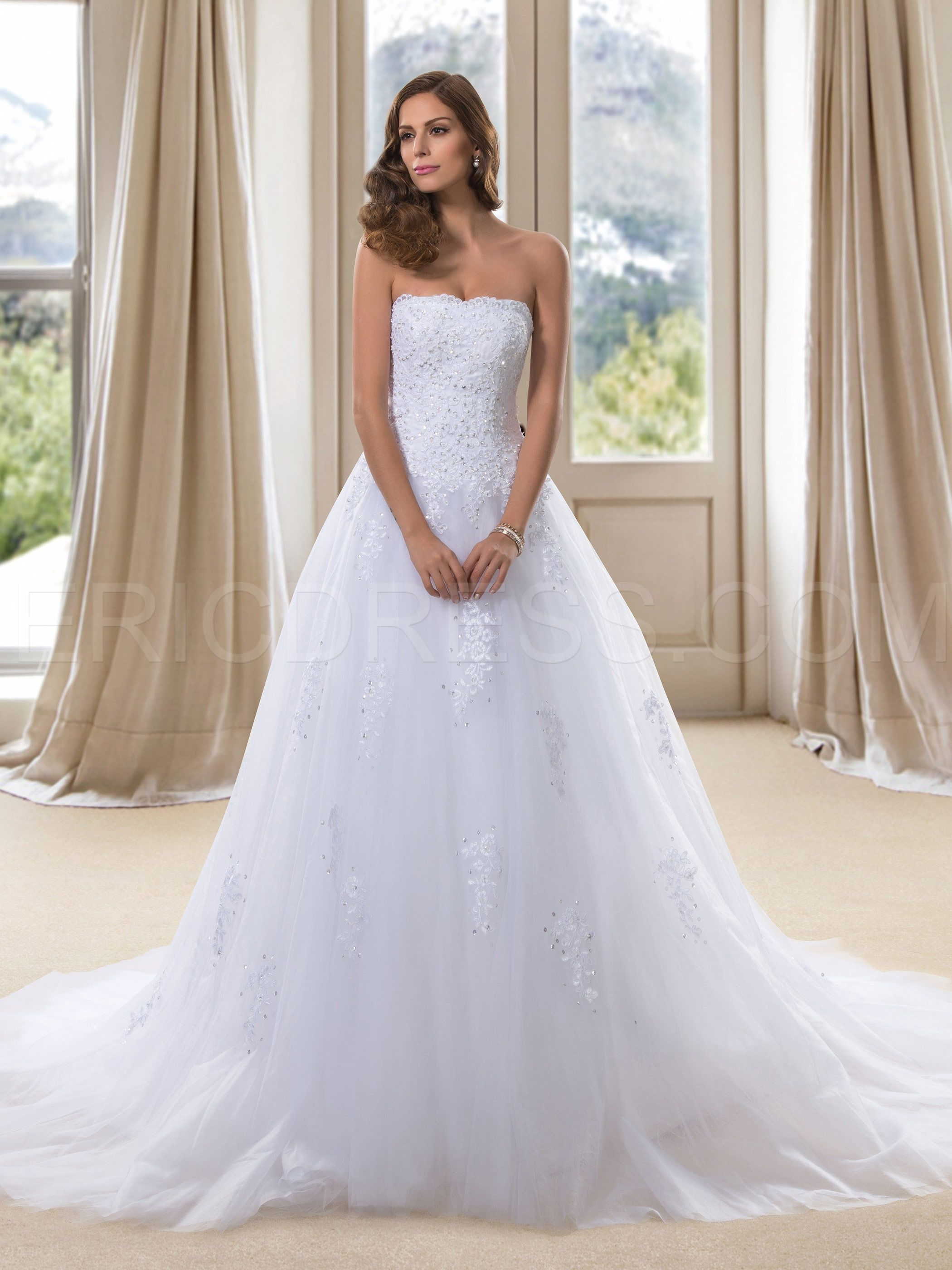 Dramatic Strapless Applqiues Sequins Laceup Long Wedding