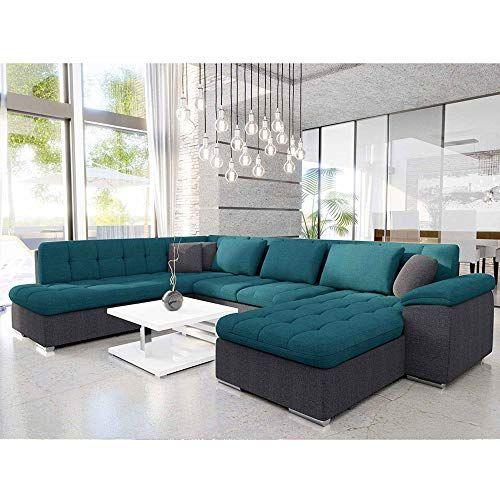 Decoinparis Canape D Angle Panoramique Convertible En Tissu Atema Angle Droit Bleu Et Gris En 2020 Canape Angle Meuble Deco Decoration Maison