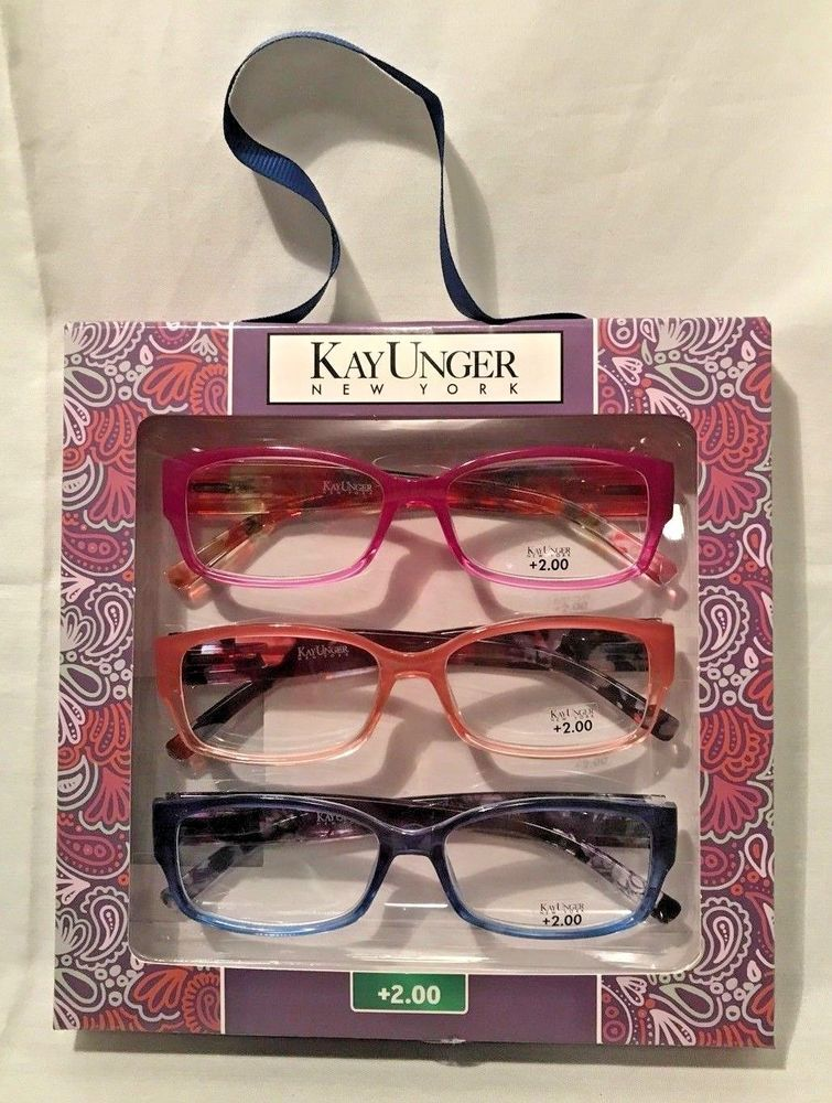 d5b7ae2a9345 Kay Unger New York +2.00 Crystal Floral Print 3 Pack Reading Glasses  Multicolor