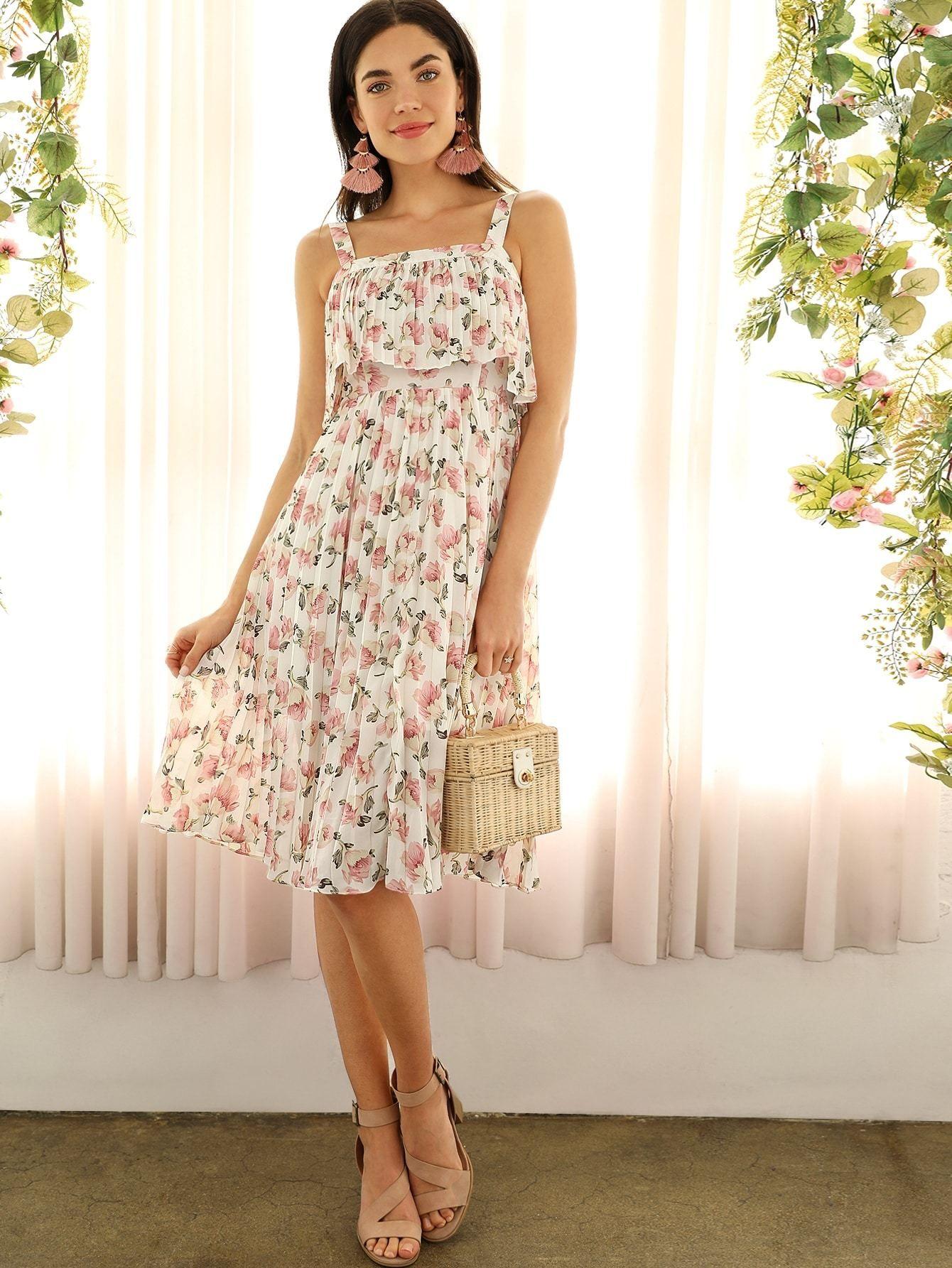 47531b57ab3f Boho Floral Print Pleated Ruffle Thick Strap Summer Midi Dress - Popviva