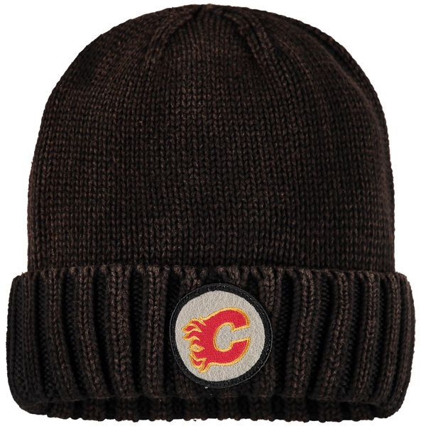 e88d62c7c29 Men s Calgary Flames Mitchell   Ness Brown Vintage Ribbed Cuffed Knit Hat