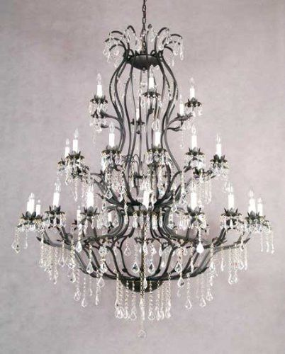 Large Foyer Entryway Wrought Iron Chandelier Lighting With