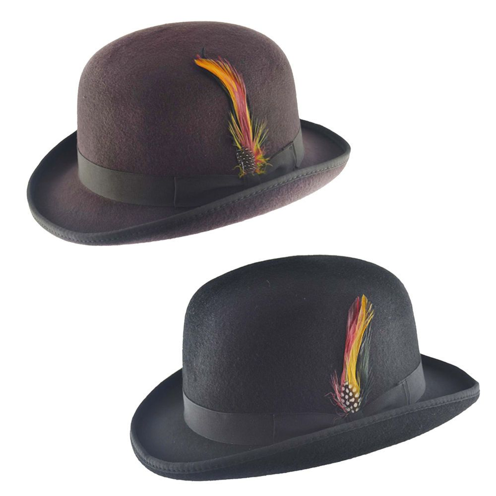 Mens Black Vintage 100% Wool Felt English Bowler Derby Hat Removable  Feather Pin f5e6b8f5a06c