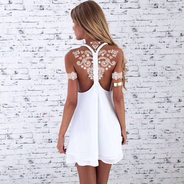 Stunning White Henna-Like Tattoos Look Like Lace Draped Over Skin