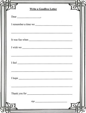 for grief Goodbye Letter template by shelley Butterfan Funerals