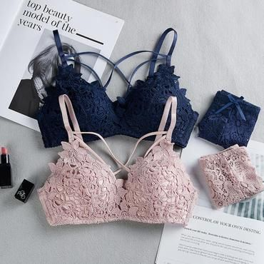 f3e4dc5b692 Women Lace Crochet Everyday Perspective Lingerie Set Bra Skinny Sexy  Underwear Nightwearintotham
