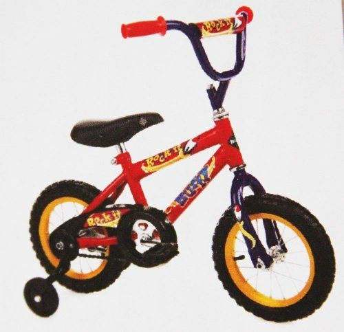 New Huffy 12 Inch ROCK IT Bicycle for Boys - 2013 Color RED by Huffy. $69.99. Features include steel diamond frame and rear coaster brakes, The seat is padded, Handlebar is padded, Includes sturdy training wheels, 12 Inch Air Tires that will last many years to come.. Save 22% Off!
