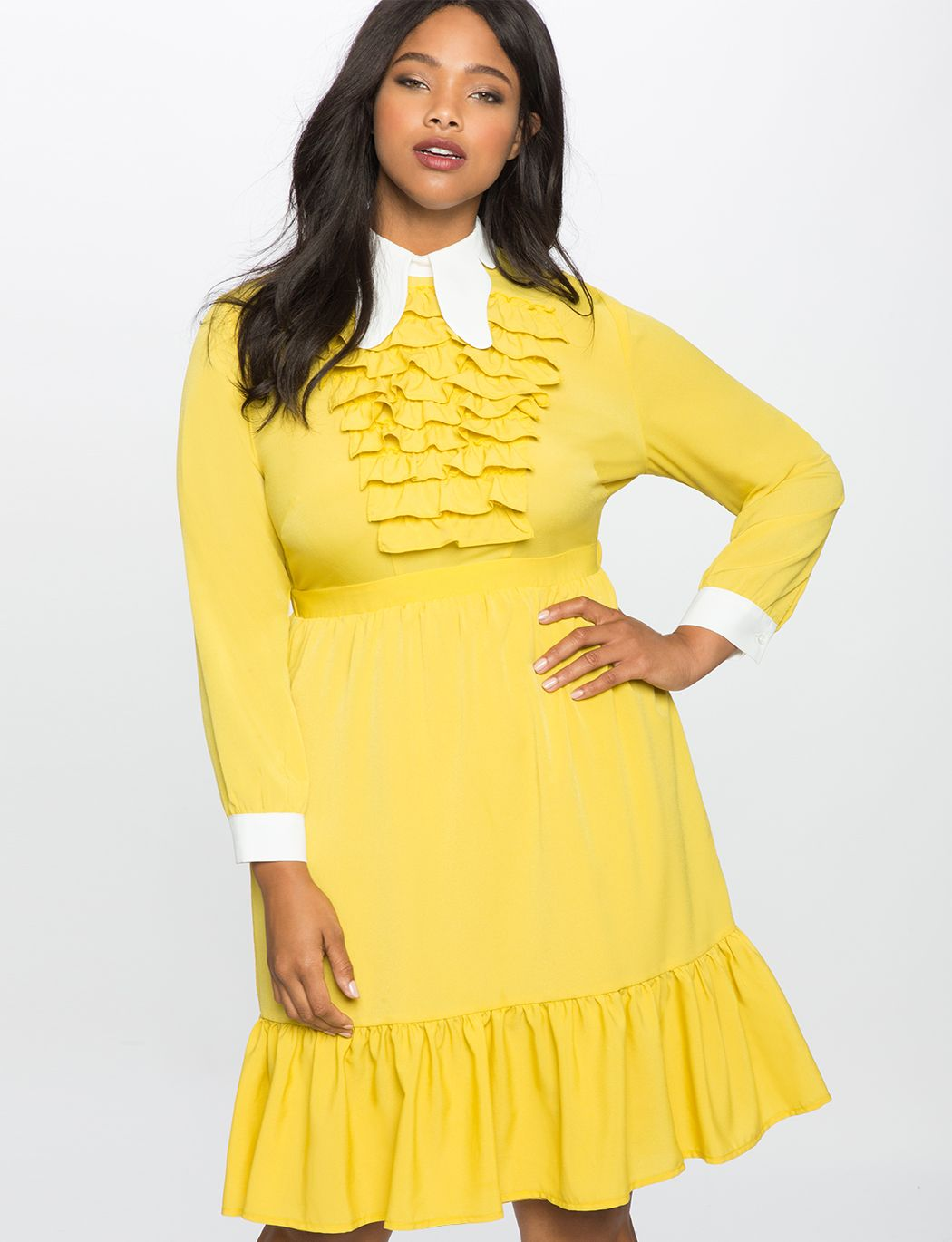 Tiered Ruffle Butterfly Collar Dress
