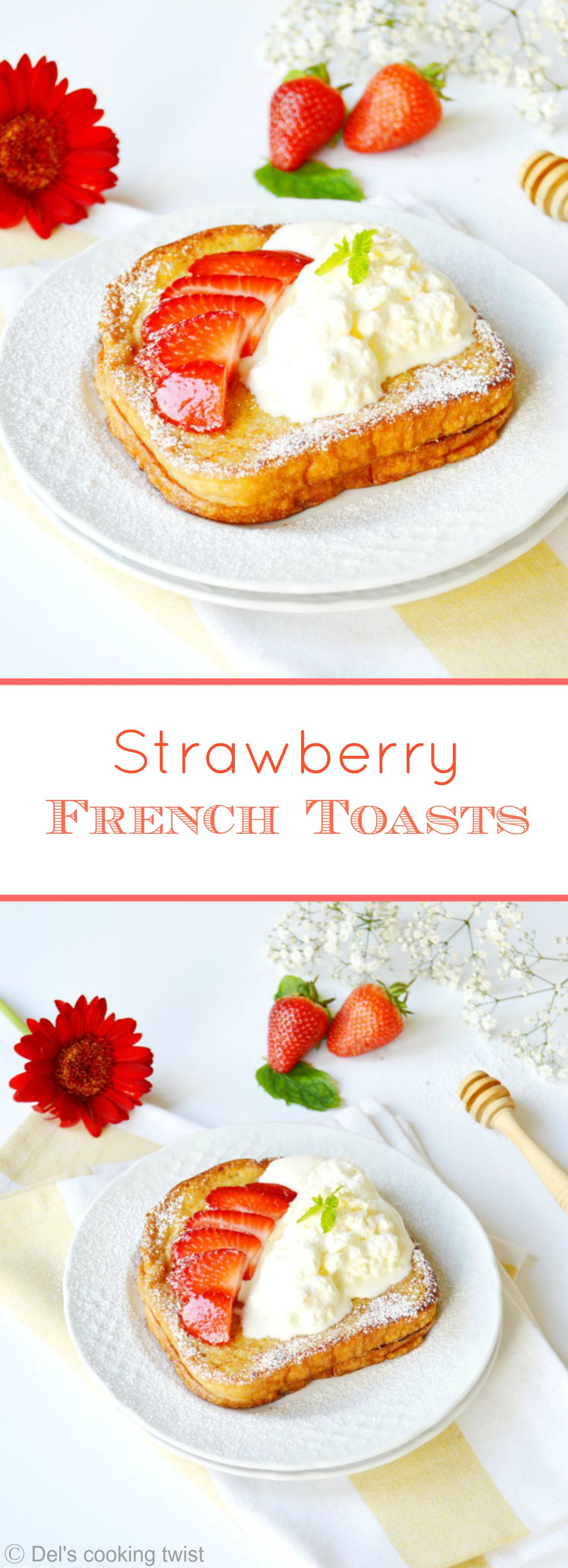 Fluffy and buttery French toasts, topped with fresh berries, whipped cream and a drizzle of maple syrup. | Del's cooking twist