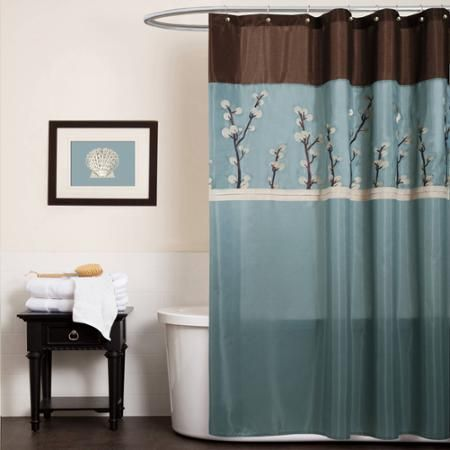 This Fabulous Shower Curtain Combines Blue And Brown Fabric With Gentle White Stripes Beautiful Flower Embroidery Along The