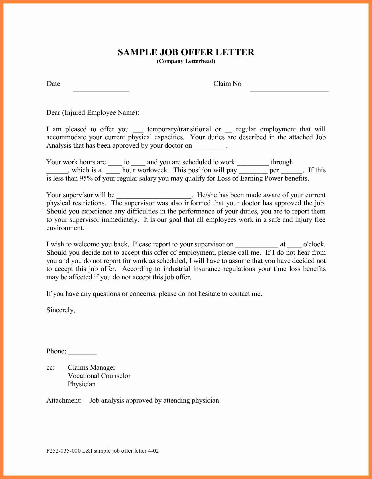 Job Offer Letter Example Inspirational 10 Offer Of