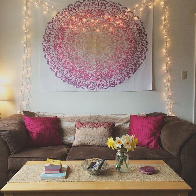 College Living Room Decor With Mandala Tapestry College Living Room Decor College Living Rooms College Apartment Living Room