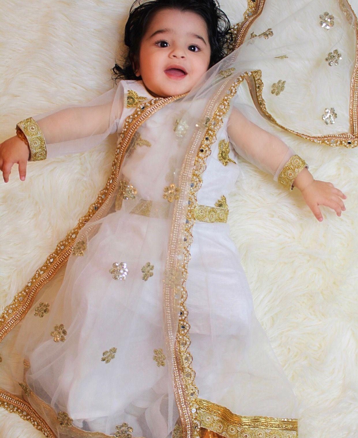 Custom baby outfit for this little diva Sahiba, made by Lashkaraa