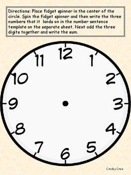 Fidget Spinner Math Blank Clock Clock Face Printable Clock